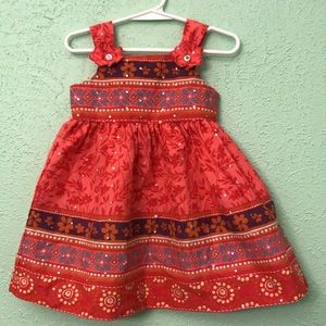 Baby Girl's Orange/Red Floral Print Dress